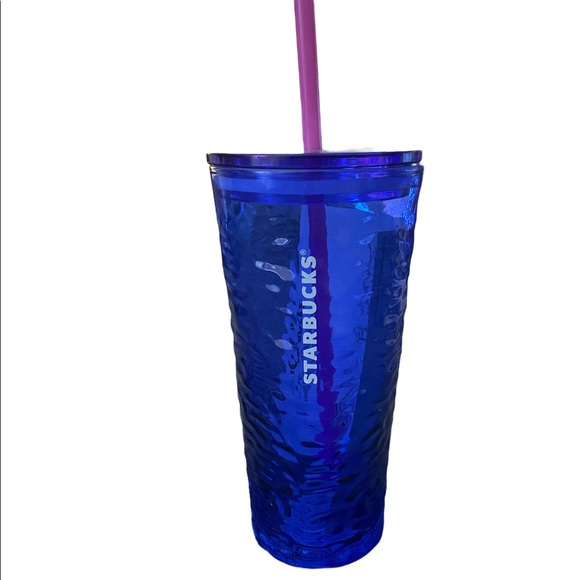 STARBUCKS Blue Glass Cold Cup NWT